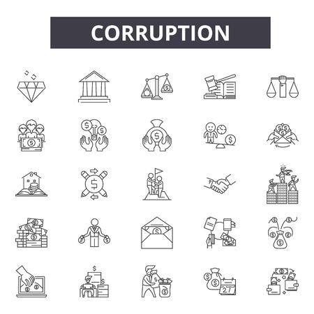 Symbole für Korruptionslinien, Zeichensatz, Vektor. Korruption Umrisskonzept Illustration: Korruption, Geld, Bargeld, Zahlung, Bestechung, Geschäft, Hand Vektorgrafik