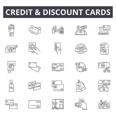 Credit and discount cards line icons, signs set, vector. Credit and discount cards outline concept illustration: money,discount,sale,card,credit,commerce,purchase,buy,pay Illustration