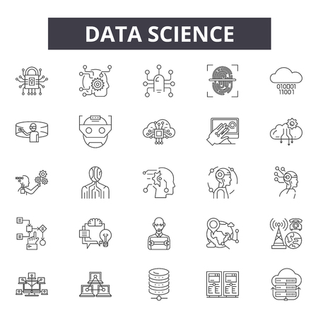 Data science line icons, signs set, vector. Data science outline concept illustration: science,technology,data,information,graphic,web