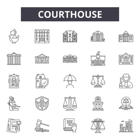 Courthouse line icons, signs set, vector. Courthouse outline concept illustration: courthouse,government,bank,building,architecture