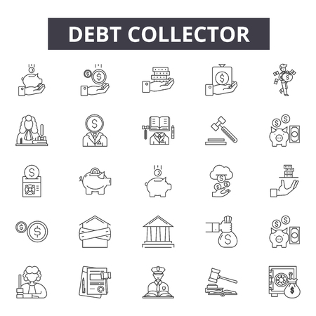 Debt collector line icons, signs set, vector. Debt collector outline concept illustration: debt,money,collector,business,finance,bank,concept,financial