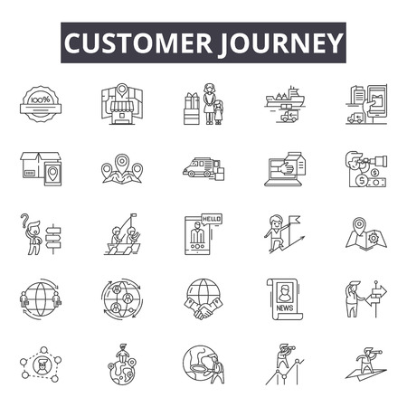 Icônes de ligne de parcours client, ensemble de signes, vecteur. Illustration du concept de contour de parcours client: voyage, client, entreprise, marketing, concept, numérique