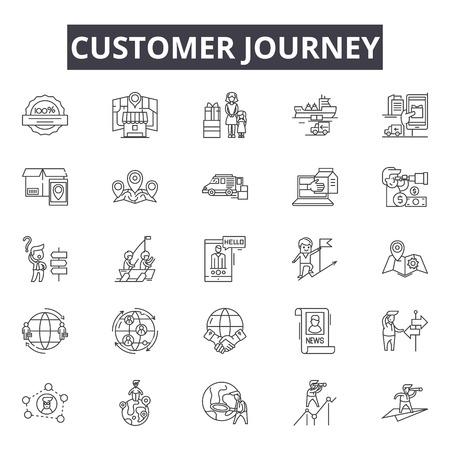 Icone della linea di viaggio del cliente, set di segni, vettore. Illustrazione del concetto di profilo di viaggio del cliente: viaggio, cliente, affari, marketing, concetto, digitale