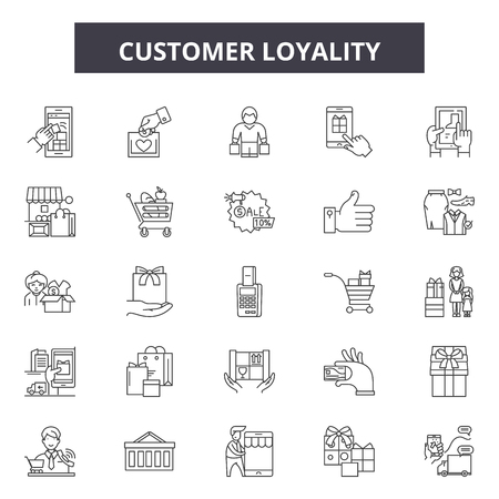 Icônes de ligne de fidélité client, ensemble de signes, vecteur. Illustration du concept de fidélité client : client, marketing, entreprise, fidélité, fidèle, client, service, concept