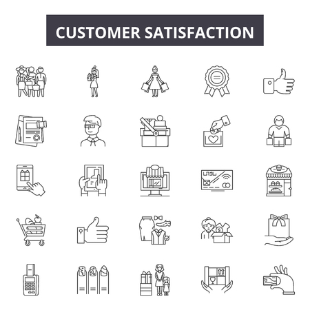 Customer satisfaction line icons, signs set, vector. Customer satisfaction outline concept illustration: customer,satisfaction,business,service,feedback,review,rating Illustration