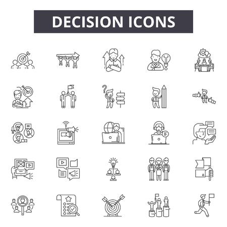 Icone della linea di decisione, set di segni, vettore. Illustrazione del concetto del profilo di decisione: decisione, affari, direzione, scelta, modo, soluzione Vettoriali
