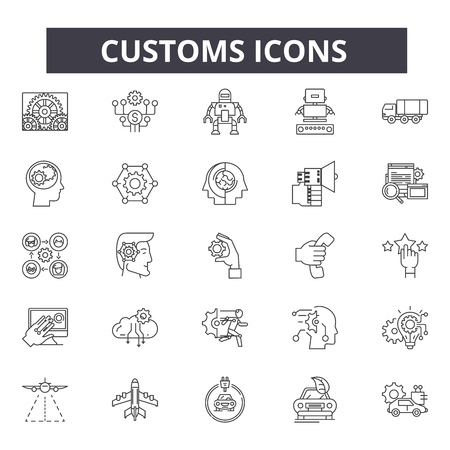 Customs line icons, signs set, vector. Customs outline concept illustration: control,customs,isolated,custom 일러스트