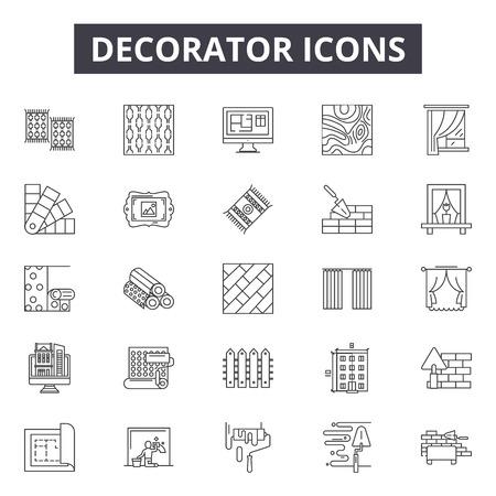Icônes de ligne de décorateur, ensemble de signes, vecteur. Illustration de concept de contour de décorateur : décorateur, peinture, dépeindre, travail, rénovation, symbole