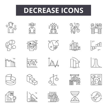 Decrease line icons, signs set, vector. Decrease outline concept illustration: decrease,finance,arrow,down,financial,business
