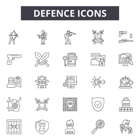Defence line icons, signs set, vector. Defence outline concept illustration: defence,security,protection,shield,safety,secure