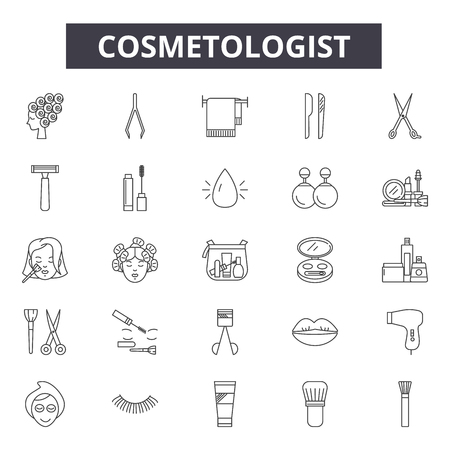 Cosmetologist line icons, signs set, vector. Cosmetologist outline concept illustration: care,cosmetologist,face,cosmetic,cosmetology,facial,woman,treatment Çizim