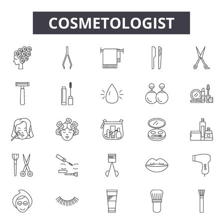 Cosmetologist line icons, signs set, vector. Cosmetologist outline concept illustration: care,cosmetologist,face,cosmetic,cosmetology,facial,woman,treatment Foto de archivo - 120894819