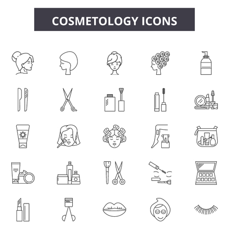 Cosmetology line icons, signs set, vector. Cosmetology outline concept illustration: cosmetology,care,beauty,face,skin,cosmetic,woman,girl Banco de Imagens - 120894822