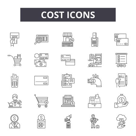 Coste 2 iconos de línea, conjunto de signos, vector. Ilustración del concepto de esquema de costo 2: costo, negocio, dinero, finanzas, dólar, precio