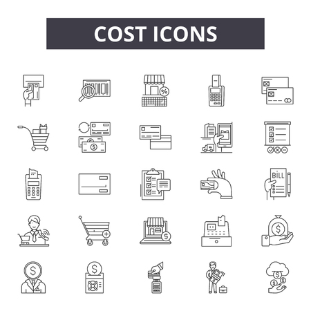 Kosten 2 Zeilensymbole, Zeichensatz, Vektor. Kosten 2 Umrisskonzept Illustration: Kosten, Geschäft, Geld, Finanzen, Dollar, Preis