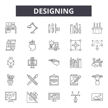 Designing line icons, signs set, vector. Designing outline concept illustration: detechnology,web,graphic,idea,art Ilustracja