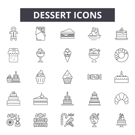 Dessert line icons, signs set, vector. Dessert outline concept illustration: dessert,food,cake,sweet,cream,chocolate,symbol Vectores