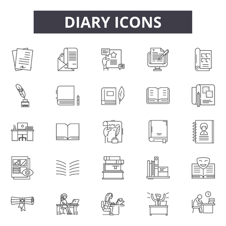 Diary line icons, signs set, vector. Diary outline concept illustration: diary,book,page,paper,business