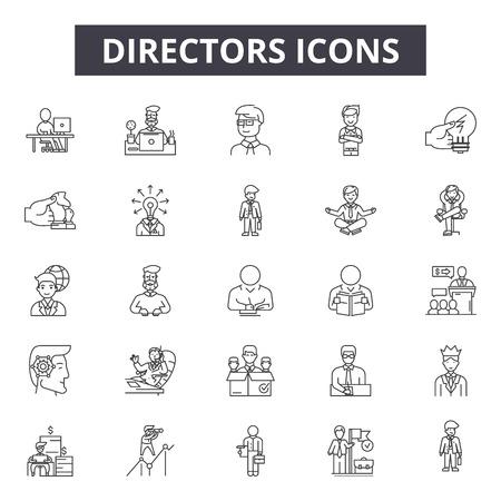 Iconos de línea de directores, conjunto de signos, vector. Ilustración del concepto de esquema de directores: director, negocios, personas, reunión, empresa, gerente