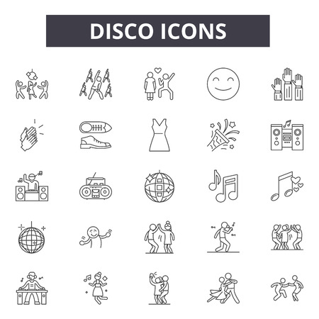 Disco line icons, signs set, vector. Disco outline concept illustration: party,music,disco,decelebration,event