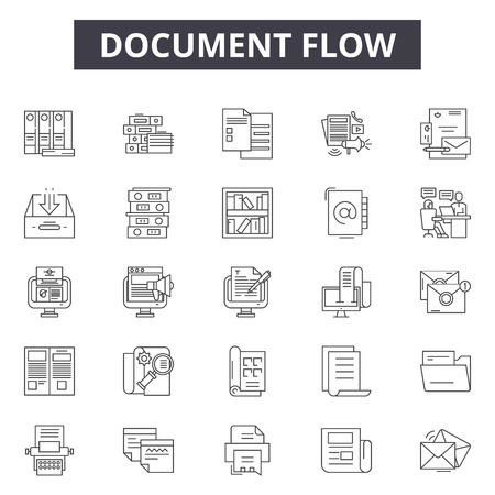 Document flow line icons, signs set, vector. Document flow outline concept illustration: document,flow,business,work,data,file,management