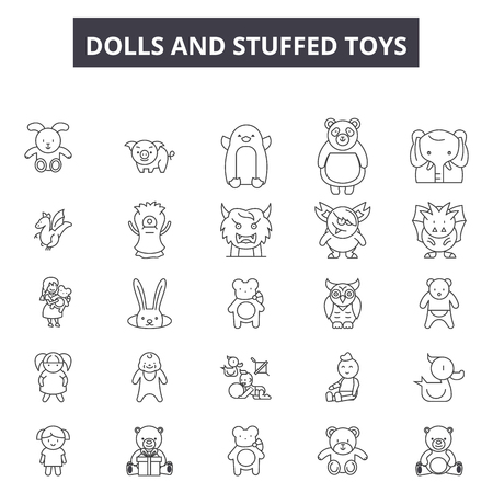 Dolls and stuffed toys line icons, signs set, vector. Dolls and stuffed toys outline concept illustration: doll,stuffed,toy,child,isolated,bear,cute,childhood,gift