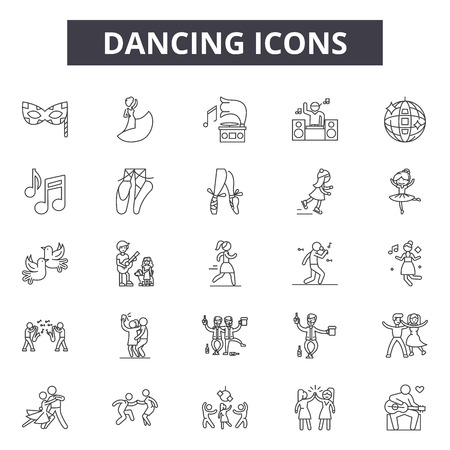 Dancing line icons, signs set, vector. Dancing outline concept illustration: dance,silhouette,party,music,woman Zdjęcie Seryjne - 120894984