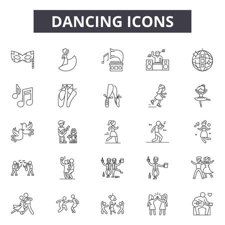Icone della linea di ballo, set di segni, vettore. Illustrazione del concetto di contorno di danza: danza, sagoma, festa, musica, donna Vettoriali