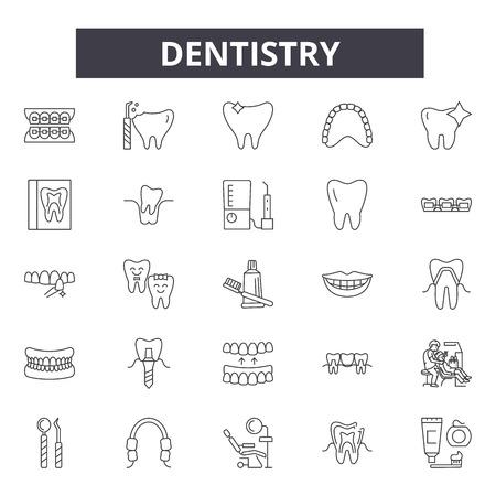 Dentistry line icons, signs set, vector. Dentistry outline concept illustration: dentistry,dentist,tooth,dental,implant,medicine