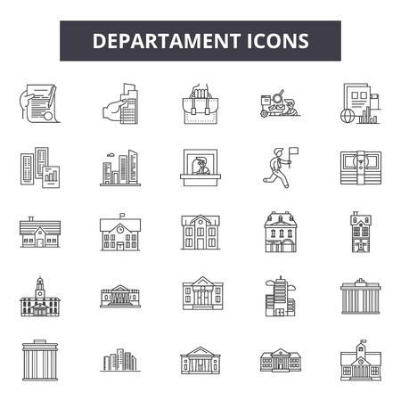 Departament line icons, signs set, vector. Departament outline concept illustration: deservice,job,safety,flat,isolated,work