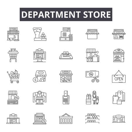 Department store line icons, signs set, vector. Department store outline concept illustration: store,shop,department,business,city,retail Ilustrace