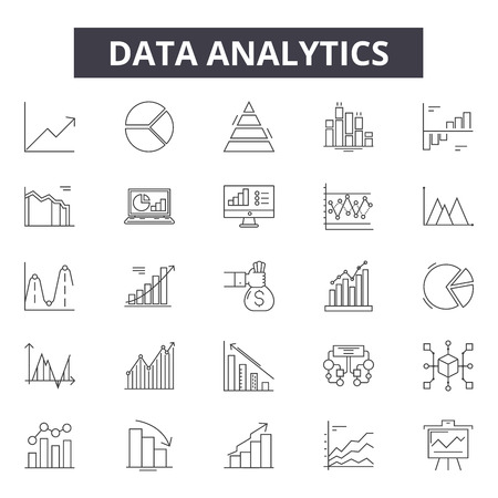 Data analytics line icons, signs set, vector. Data analytics outline concept illustration: analytics,data,graph,chart,analysis,information,business