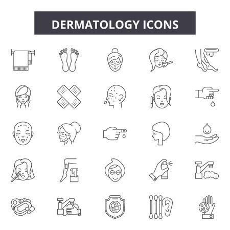 Icônes de ligne de dermatologie, ensemble de signes, vecteur. Illustration de concept de contour de dermatologie : dermatologie, soins, peau, thérapie, santé, cosmétique, traitement, médical