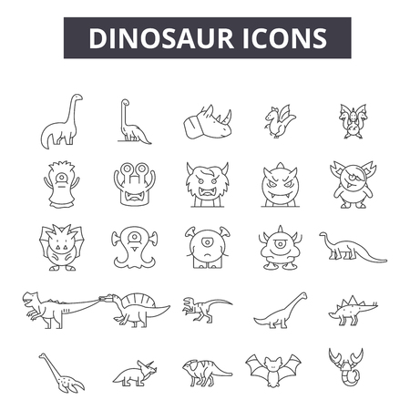Dinosaurs line icons, signs set, vector. Dinosaurs outline concept illustration: dinosaur,animal,isolated,wild,prehistoric,tyrannosaurus