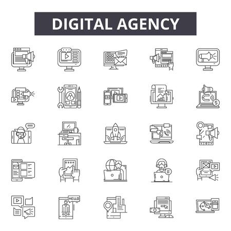 Digitalagentur-Liniensymbole, Zeichensatz, Vektor. Abbildung des Konzepts der digitalen Agentur: Geschäft, Digital, Agentur, Web, Demarketing, Internet, Technologie