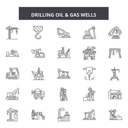 Bohren von Ölleitungssymbolen, Zeichensatz, Vektor. Bohröl Umrisskonzept Illustration: Kraftstoff, Gas, Öl, Gasopetrol, Industrie, Energie, Raffinerie
