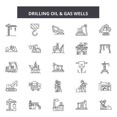 Drilling oil line icons, signs set, vector. Drilling oil outline concept illustration: fuel,gas,oil,gasopetroleum,industry,energy,refinery