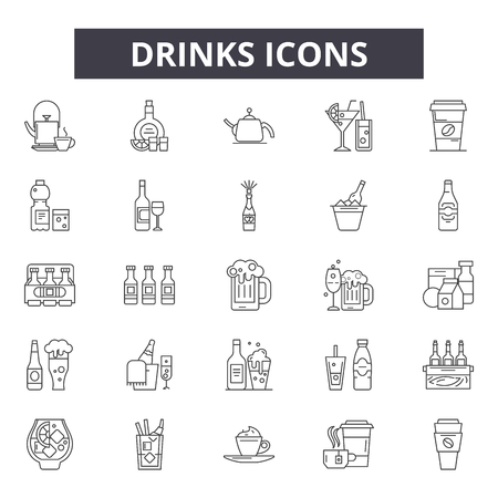 Drinks line icons, signs set, vector. Drinks outline concept illustration: cocktail,drink,beer,glass,cup,wine,juice,water