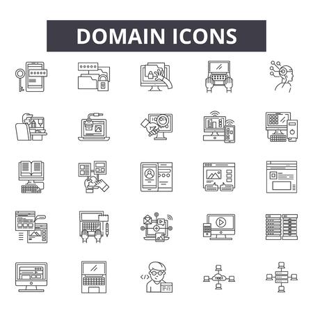 Domain line icons, signs set, vector. Domain outline concept illustration: web,internet,domain,website,network,business,search