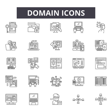 Domain line icons, signs set, vector. Domain outline concept illustration: web,internet,domain,website,network,business,search