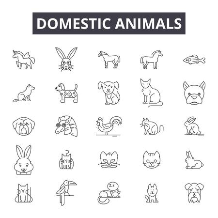 Domestic animals line icons, signs set, vector. Domestic animals outline concept illustration: domestic,animal,rabbit,dog,cat,farm