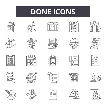 Done line icons, signs set, vector. Done outline concept illustration: done,check,choice,ok,isolated,mark Stock Illustratie