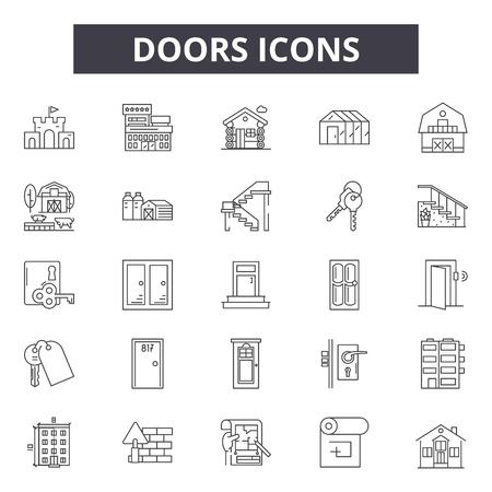 Doors line icons, signs set, vector. Doors outline concept illustration: door,open,home,room,doorway Banque d'images - 120895036