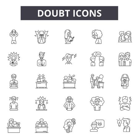 Doubt line icons, signs set, vector. Doubt outline concept illustration: doubt,question,mark,problem,concept