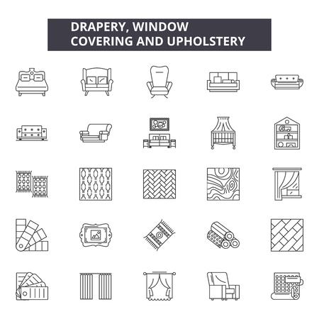 Drapery window line icons, signs set, vector. Drapery window outline concept illustration: window,drapery,interior,curtain,house,decoration,decor,design Иллюстрация