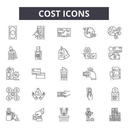 Icone della linea di costo, set di segni, vettore. Illustrazione del concetto di contorno di costo: denaro, costo, finanza, affari, isolato, prezzo Vettoriali