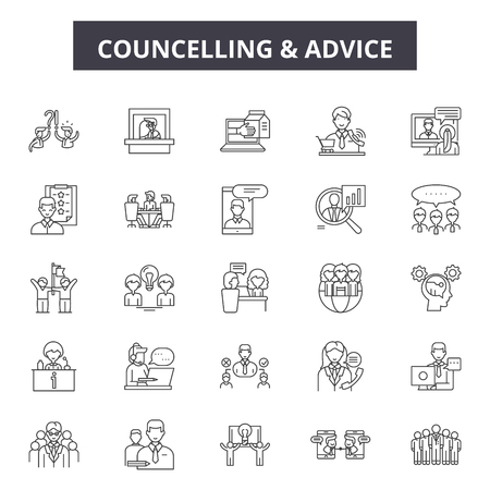 Councelling line icons, signs set, vector. Councelling outline concept illustration: man,people,councelling,person,couple,woman,hug Imagens - 120895045