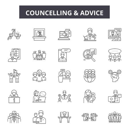 Icone della linea di consulenza, set di segni, vettore. Illustrazione del concetto di contorno di consulenza: uomo,persone,consulenza,persona,coppia,donna,abbraccio