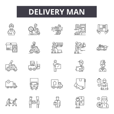 Delivery man line icons, signs set, vector. Delivery man outline concept illustration: man,delivery,service,box,courier,worker,package,job Vettoriali