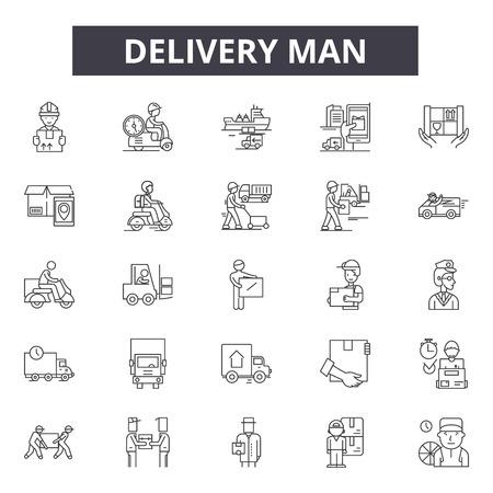 Icone della linea uomo di consegna, set di segni, vettore. Illustrazione del concetto di contorno del fattorino: uomo, consegna, servizio, scatola, corriere, lavoratore, pacco, lavoro